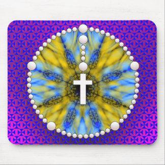 Colector ideal del rosario azul y amarillo tapete de ratones