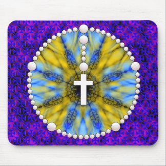 Colector ideal del rosario azul y amarillo alfombrillas de ratón