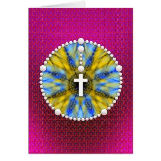 Colector ideal del rosario azul y amarillo tarjeta de felicitación