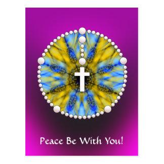 Colector ideal del rosario azul y amarillo postales