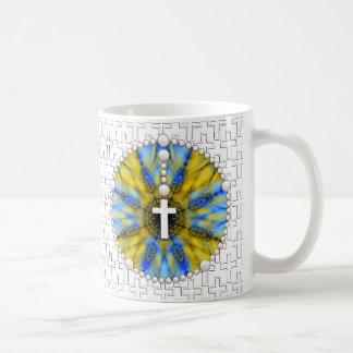 Colector ideal del rosario azul y amarillo tazas de café
