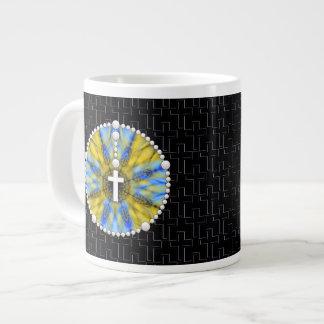 Colector ideal del rosario azul y amarillo taza grande