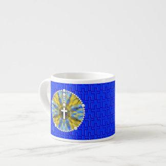 Colector ideal del rosario azul y amarillo taza espresso