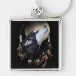Colector ideal y perro esquimal observado azul llavero cuadrado plateado