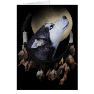 Colector ideal y perro esquimal observado azul tarjeton