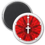 Colector rojo del sueño del rosario iman de nevera