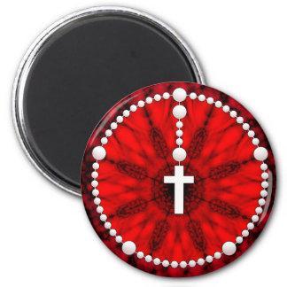 Colector rojo del sueño del rosario imán redondo 5 cm