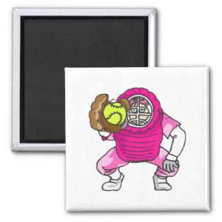 Colector rosado del softball imán cuadrado