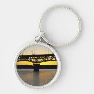 Coleman Bridge Silver-Colored Round Keychain