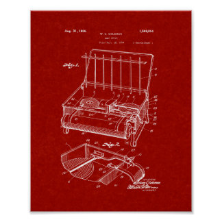 Coleman Camp Stove Patent - Burgundy Red Poster