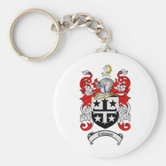 COLEMAN FAMILY CREST -  COLEMAN COAT OF ARMS BASIC ROUND BUTTON KEYCHAIN