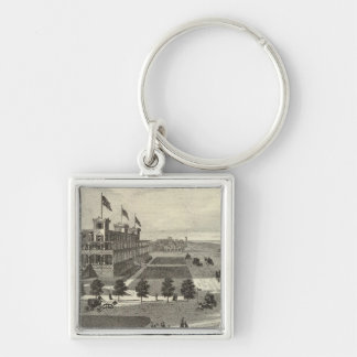 Coleman House, Asbury Park, NJ Silver-Colored Square Keychain