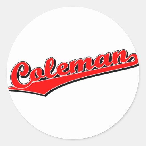 Coleman in Red Round Sticker
