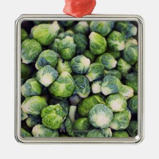 Coles de Bruselas frescas verdes claras Adorno Cuadrado Plateado