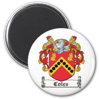 Coles Family Crest 2 Inch Round Magnet