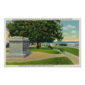 Coles Hill View of Mayflower Burial Monument Poster