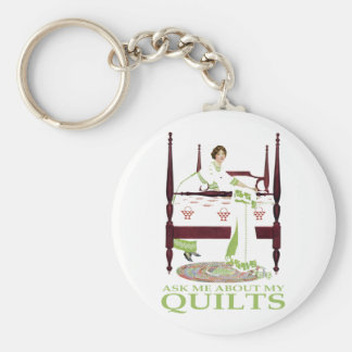 Coles Phillips Fadeaway - Ask Me About My Quilts Basic Round Button Keychain