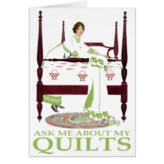 Coles Phillips Fadeaway - Ask Me About My Quilts Greeting Card