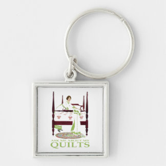 Coles Phillips Fadeaway - Ask Me About My Quilts Silver-Colored Square Keychain