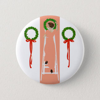 Coles Phillips Fadeaway Christmas Deck The Halls Button