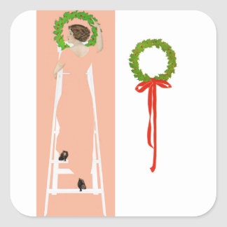 Coles Phillips Fadeaway - Deck The Halls Square Sticker