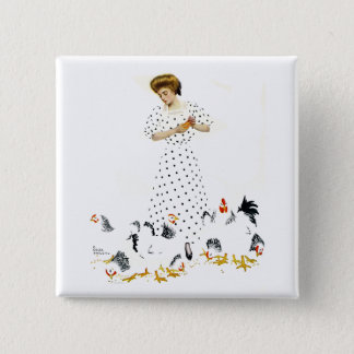 Coles Phillips Fadeaway Farmer's Daughter Button