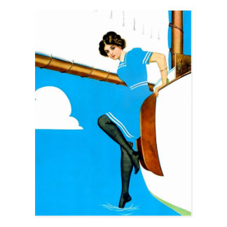 "Coles Phillips 'Fadeaway Girl' Art ""Blue Sailing"" Postcard"