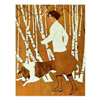 Coles Phillips 'Fadeaway Girl' Autumn Walk Cover Postcard