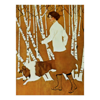 Coles Phillips 'Fadeaway Girl' Autumn Walk Cover Poster