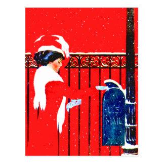 Coles Phillips Fadeaway Girl - White Christmas Postcard