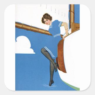 Coles Phillips Fadeaway - navegación en los Pegatina Cuadrada
