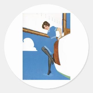 Coles Phillips Fadeaway - navegación en los Pegatina Redonda