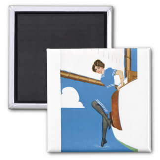 Coles Phillips Fadeaway - Sailing On Blue Oceans 2 Inch Square Magnet