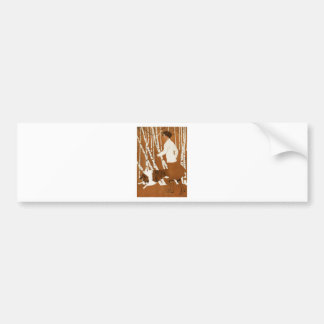 Coles Phillips  Fadeaway Woman Jogging with Collie Bumper Sticker