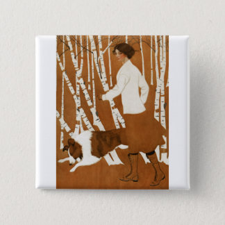 Coles Phillips  Fadeaway Woman Jogging with Collie Button