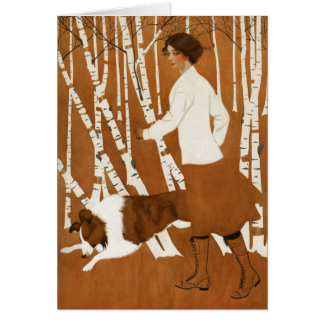 Coles Phillips  Fadeaway Woman Jogging with Collie Card