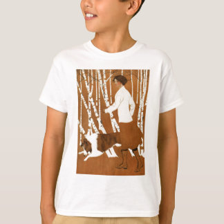 Coles Phillips  Fadeaway Woman Jogging with Collie T-Shirt