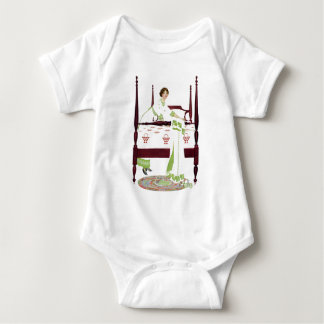 Coles Phillips Woman and Four Poster and Quilts Baby Bodysuit