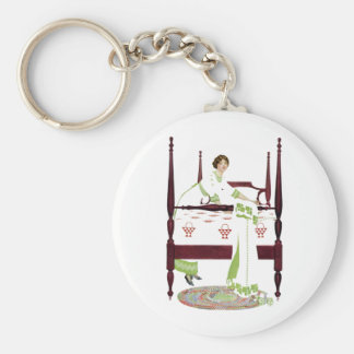 Coles Phillips Woman and Four Poster and Quilts Keychain