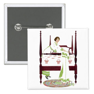 Coles Phillips Woman and Four Poster and Quilts Pinback Button