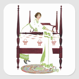 Coles Phillips Woman and Four Poster and Quilts Square Sticker