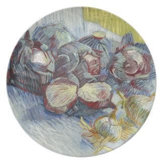 Coles rojas y cebollas de Vincent van Gogh Plato De Comida