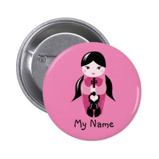 Coletas y botón rosado de la muñeca del violín pin redondo de 2 pulgadas