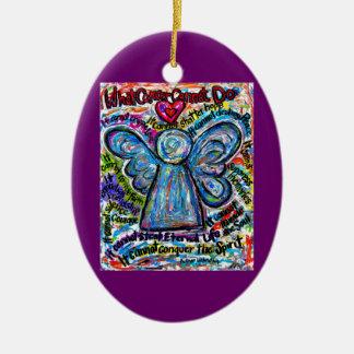Colgante colorido del ornamento del ángel del adorno navideño ovalado de cerámica