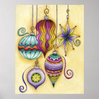 Colgante colorido hermoso de los ornamentos del na poster