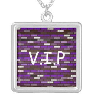 colgante ladrillos lilas, V.I.P Square Pendant Necklace