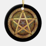 Colgante/ornamento de oro del pentáculo adornos de navidad