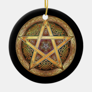 Colgante ornamento de oro del pentáculo adornos de navidad