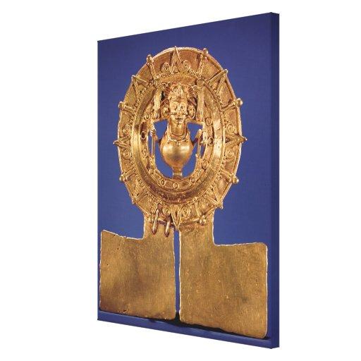 Colgante que representa un disco del sol, Zaachila Impresión En Lona