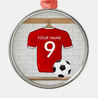 Colgante (rojo) adaptable de la camisa del fútbol ornamento para arbol de navidad